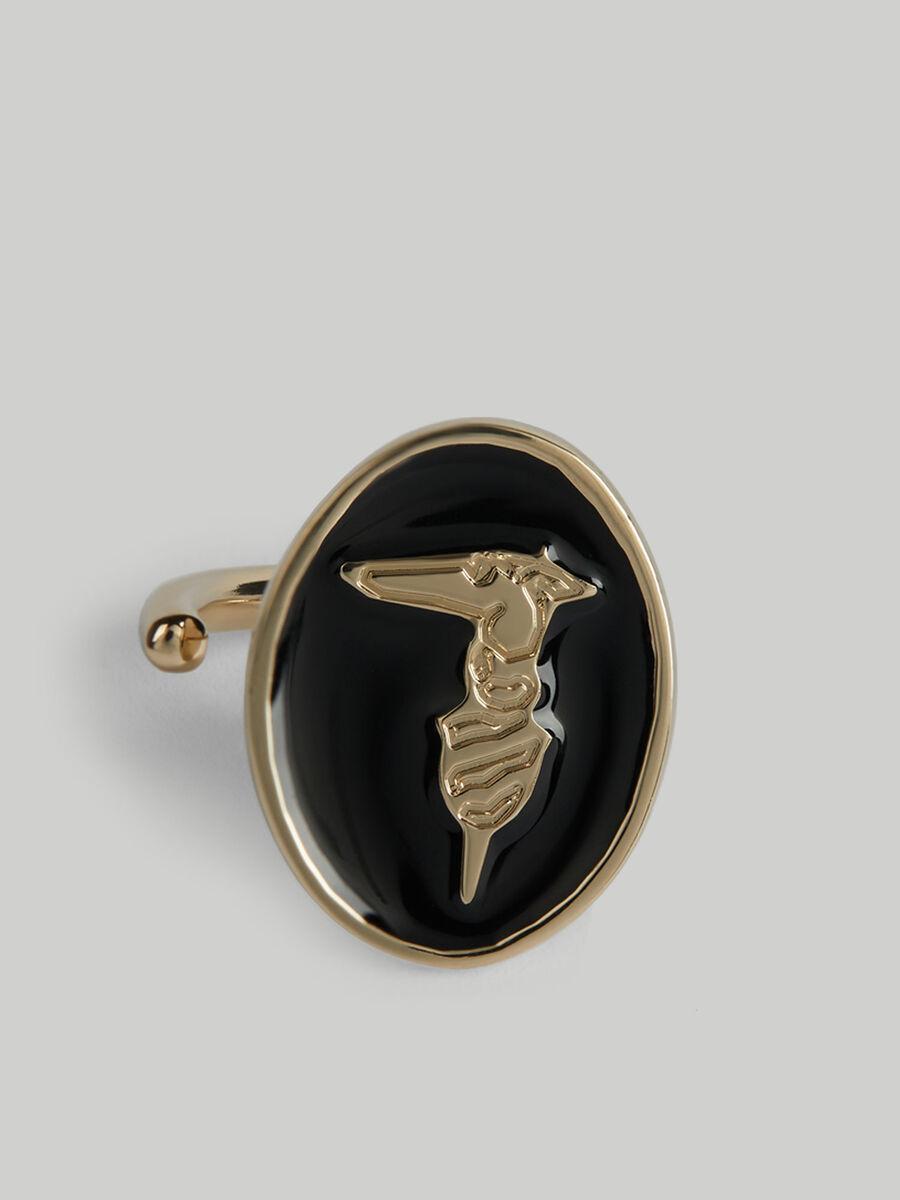 Metal and enamel monogram ring