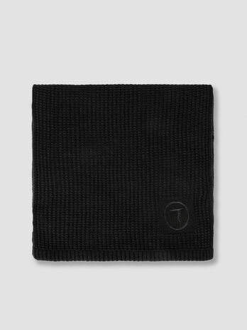 Wool blend scarf with embroidered logo