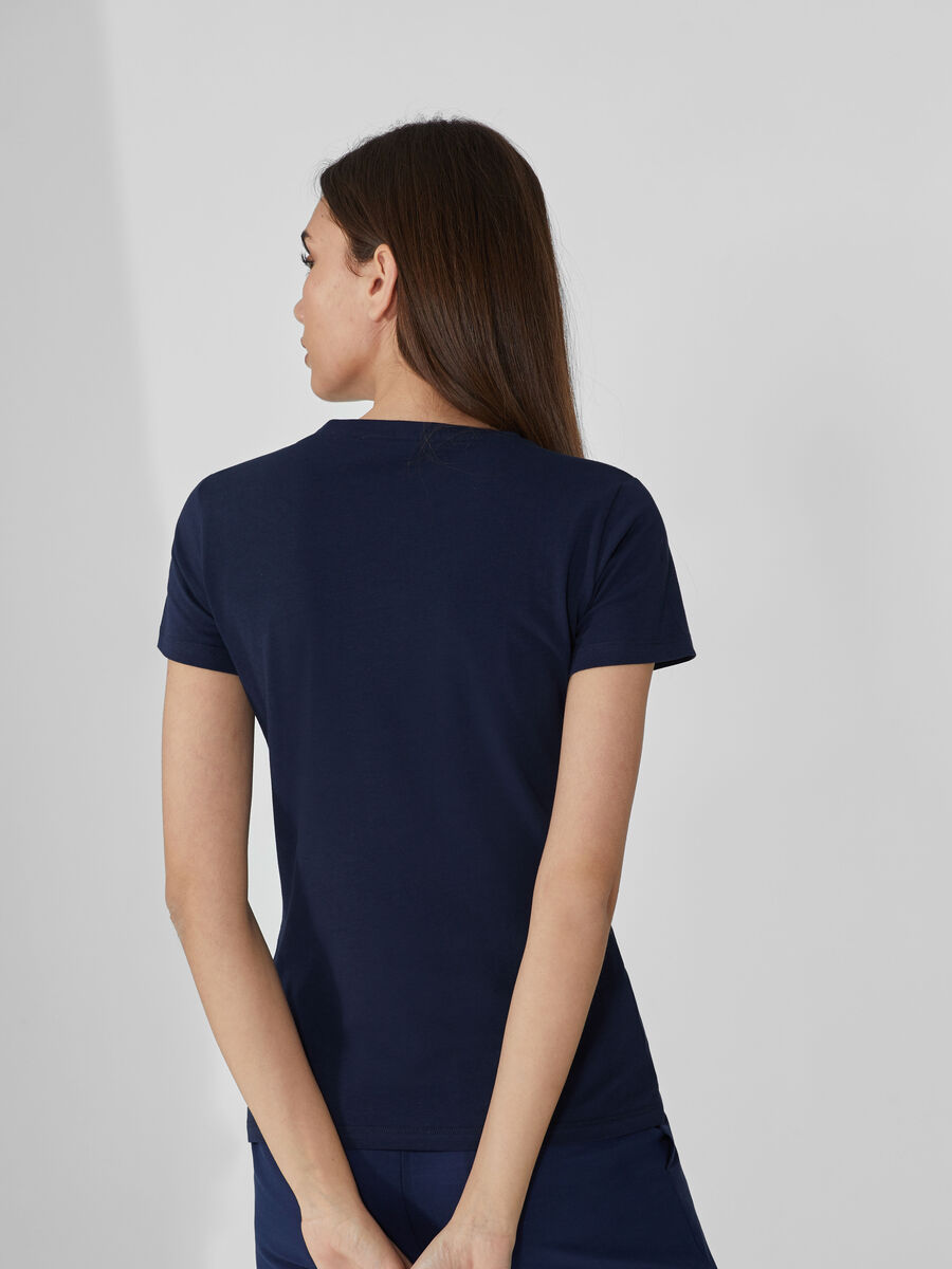 Slim-fit cotton T-shirt with rhinestones