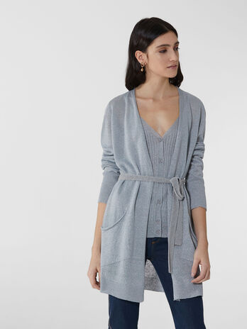 Cardigan long en fil de lurex