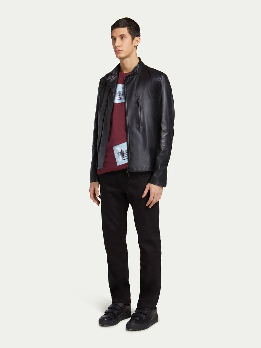 Giubbino biker slim fit in pelle con zip