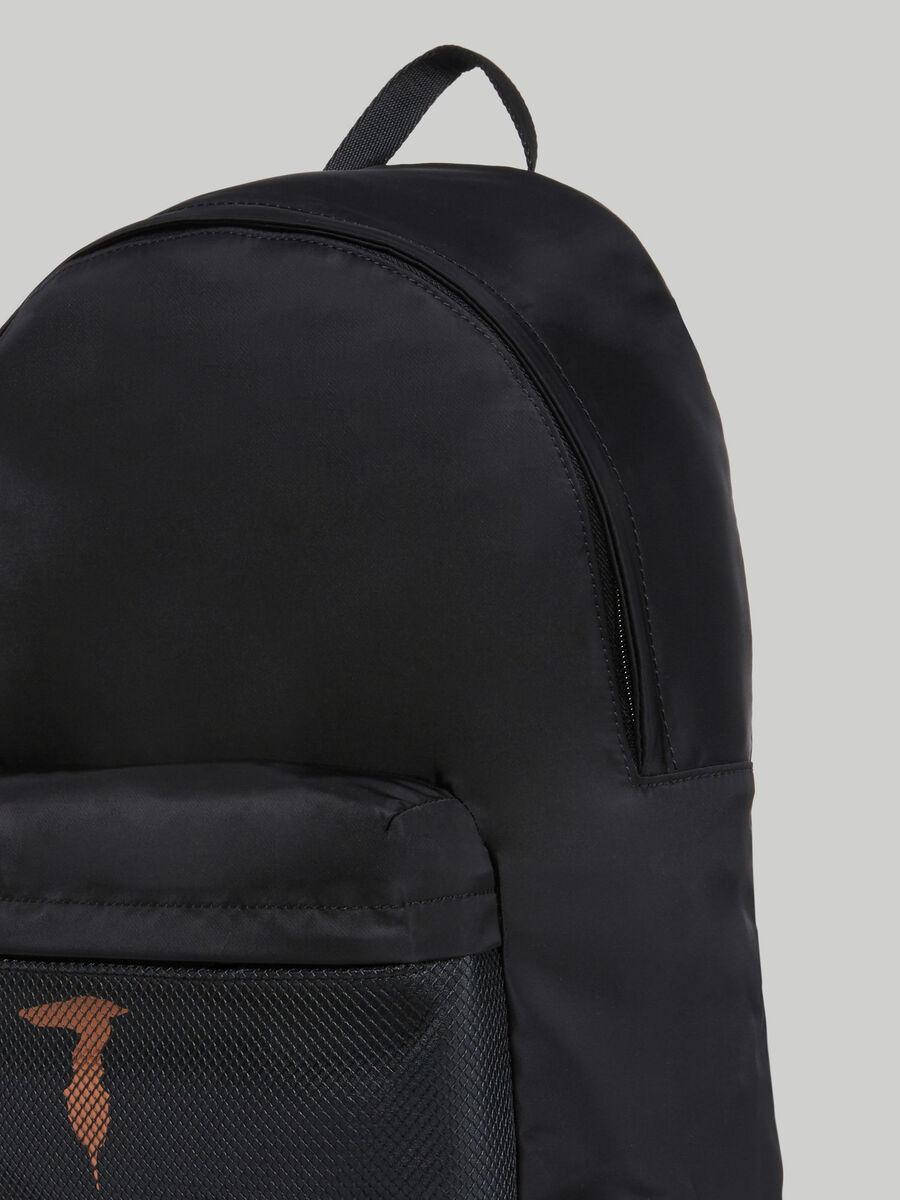 Medium nylon backpack with branded pocket