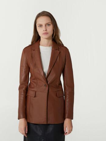 Einreihiger Blazer im Regular Fit aus Leder