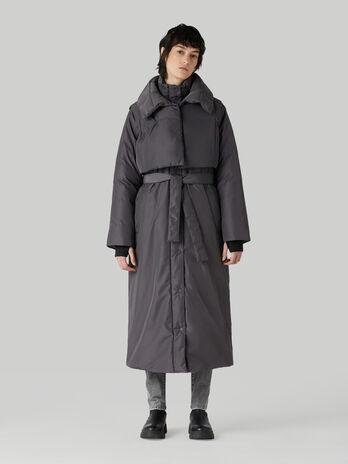 Long water-repellent nylon down jacket