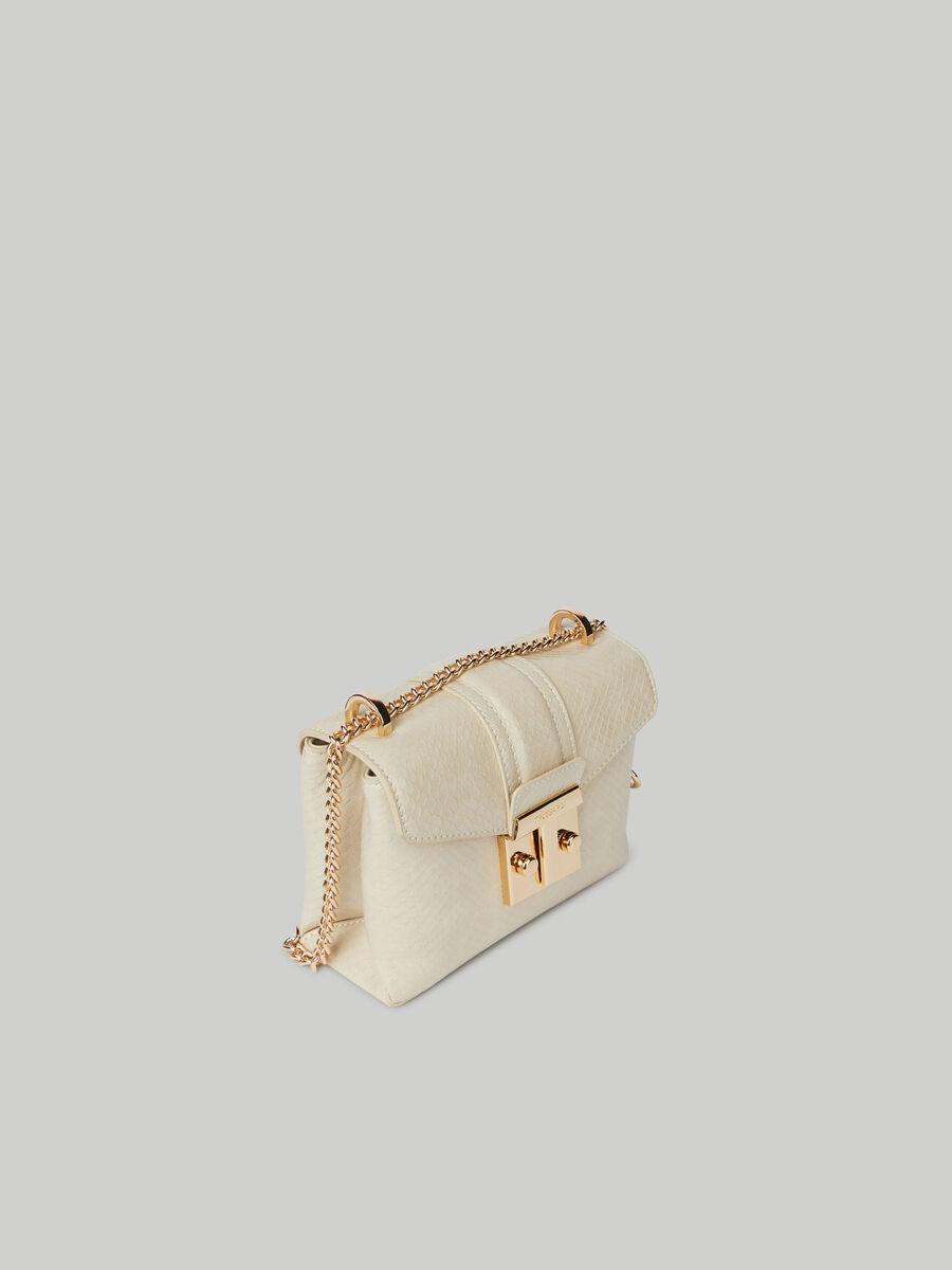 Small Tulip flap crossbody bag with python print