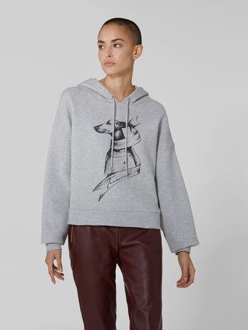 Cotton hoody with Levriero print