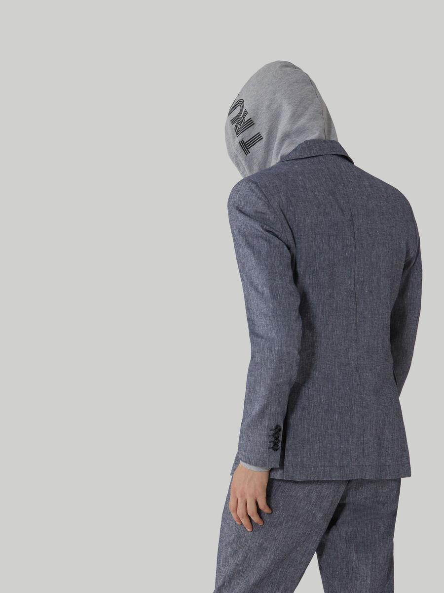 Blazer regular fit in cotone e lino
