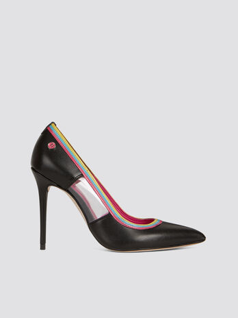 Solid colour faux leather pumps with plexi details