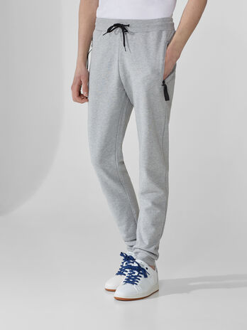 Regular-fit cotton fleece jogging bottoms