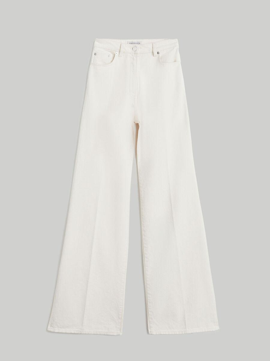 Wide-leg cotton denim jeans