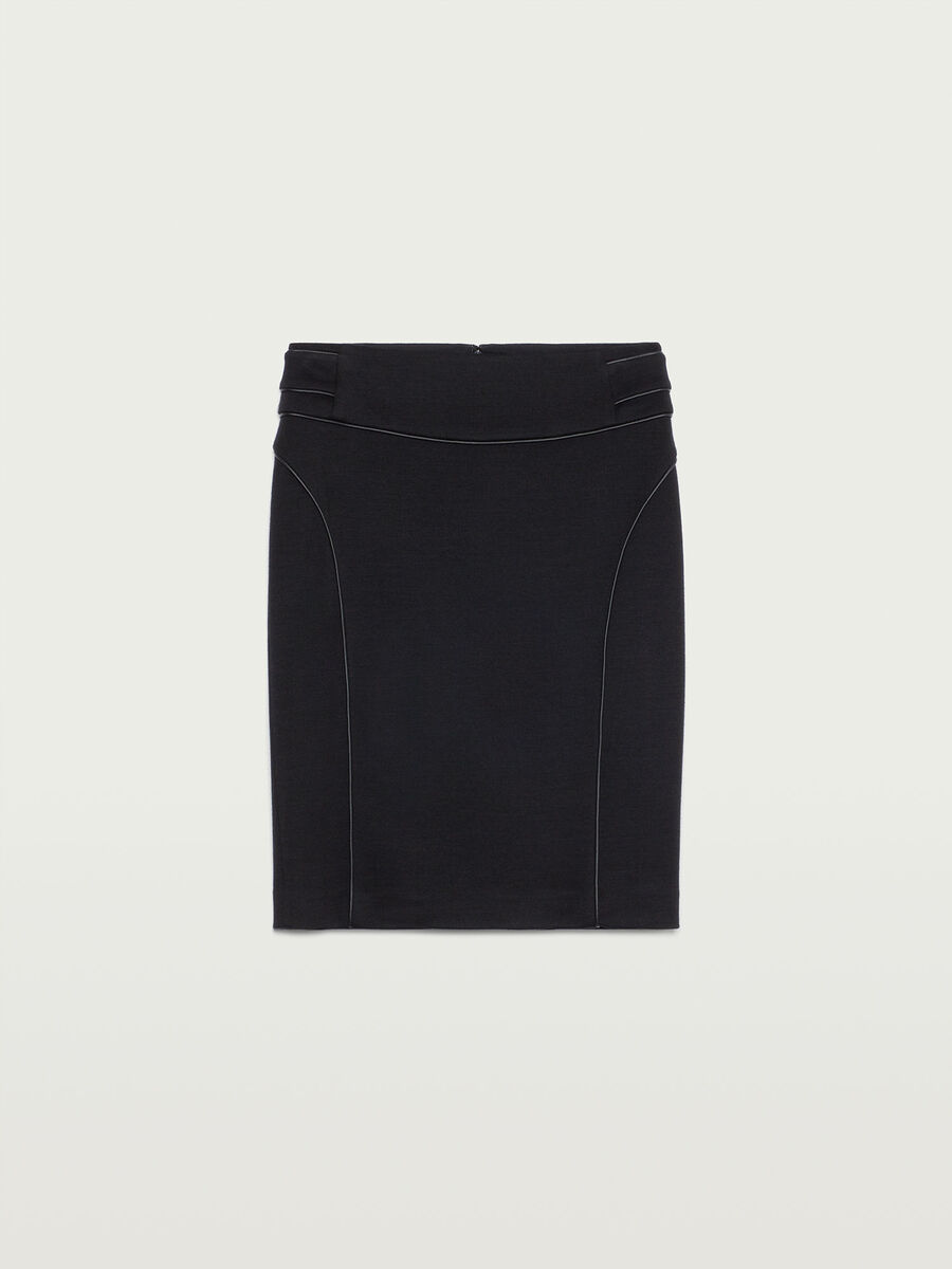 Tube skirt with leather details