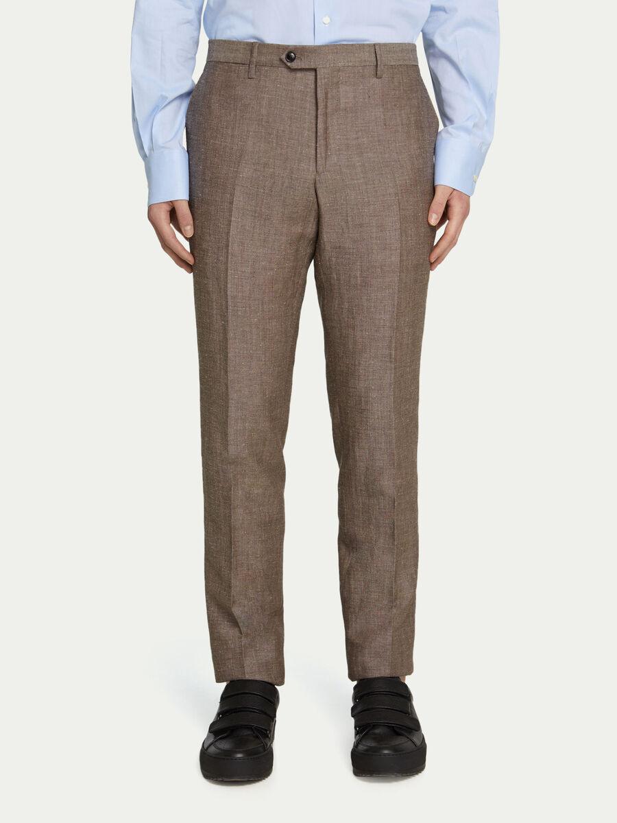 Pantalon business uni avec passants a la taille