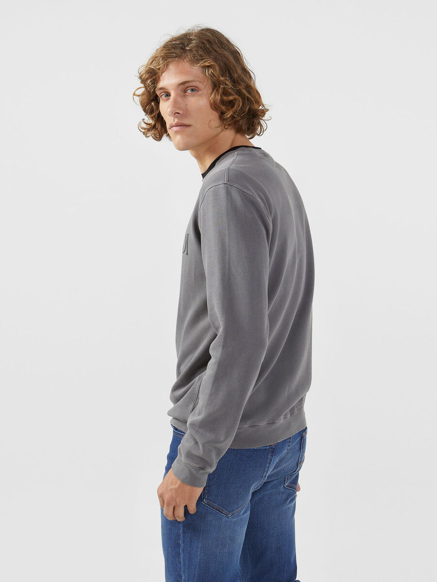Regular fit cotton sweatshirt with logo print