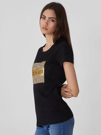 Regular-fit cotton T-shirt with rhinestones