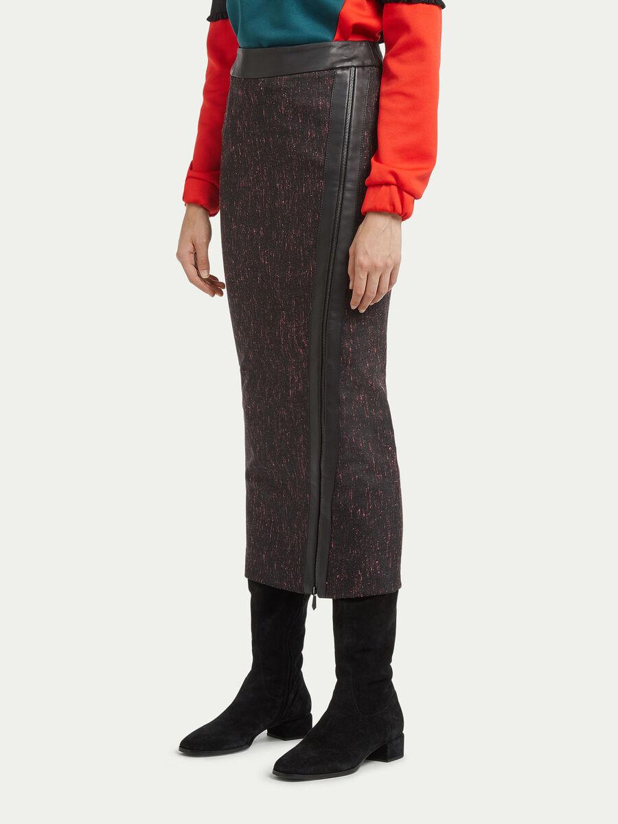 Jupe zippee en pure laine melangee