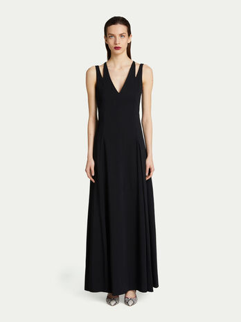 Long V neck dress in monochrome viscose crepe