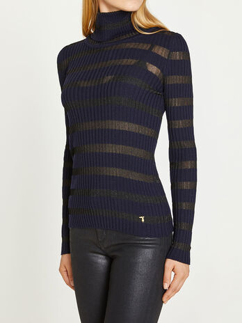 Turtleneck with lurex stripes