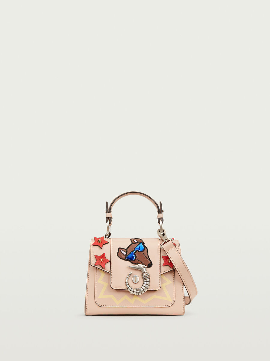 Lovy Bag mini in crespo pelle con emoticon Levriero