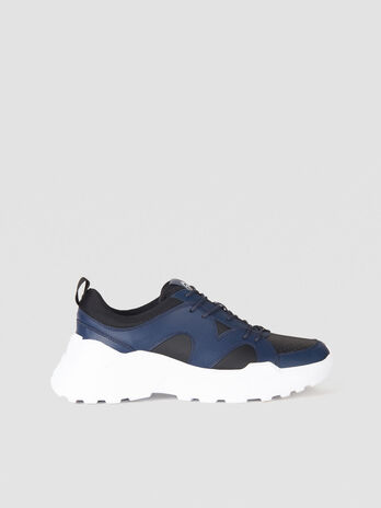 Two tone faux leather running sneakers