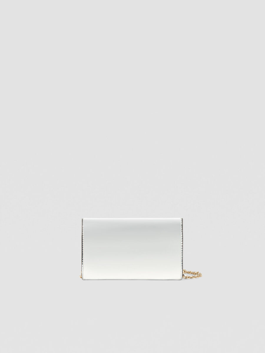 Small mirrored clutch in faux leather