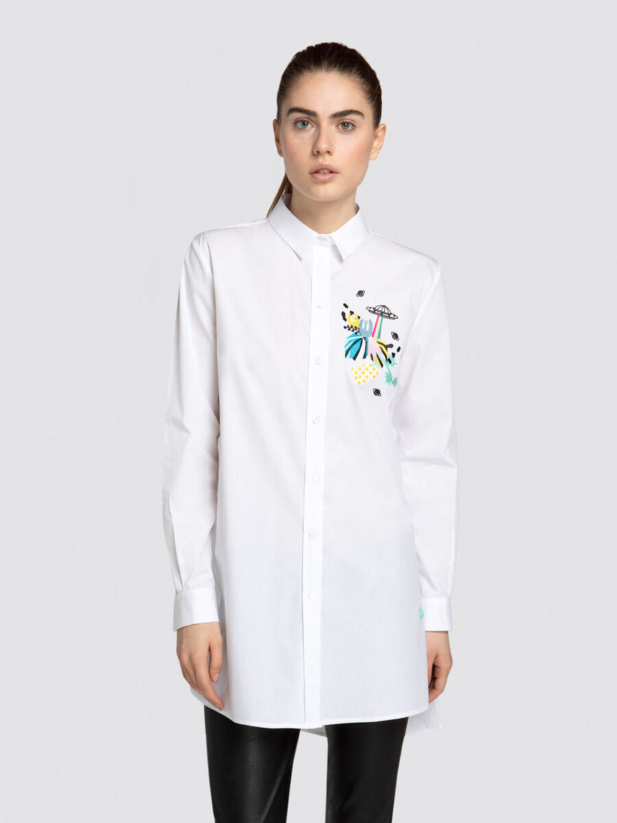 Oversized asymmetrical poplin shirt