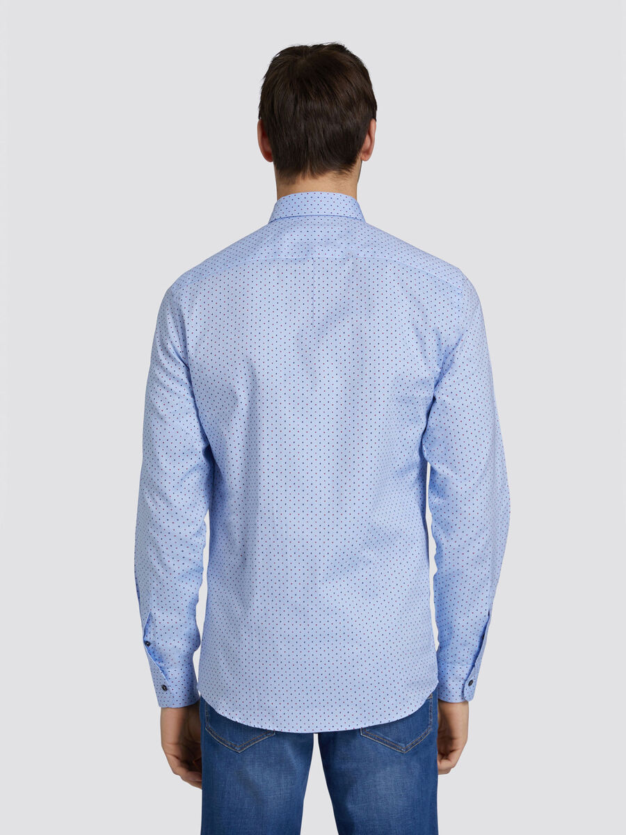 Regular fit Oxford blend shirt with poker print