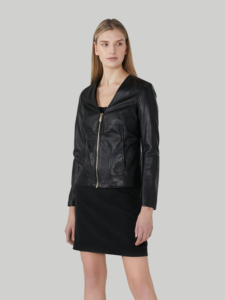 Soft-touch leather jacket with zip
