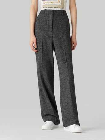 Pantalon de mezcla de lana microcuadros