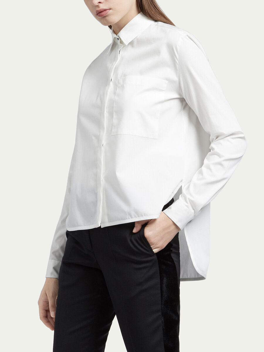 Two tone cotton poplin shirt with pocket detail