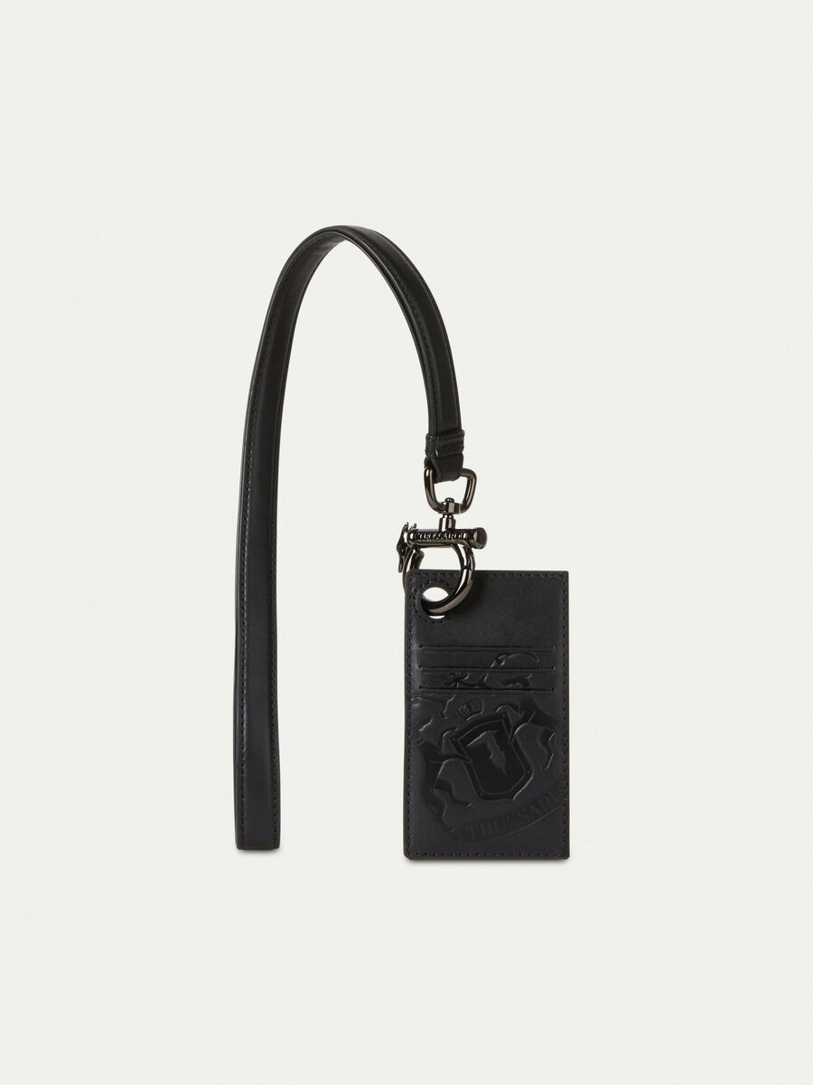Leather lanyard with card holder