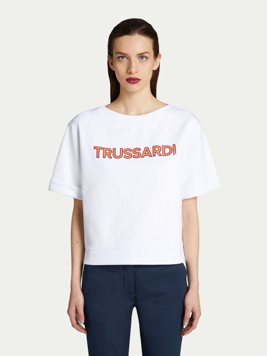 Technical fleece sweatshirt with maxi lettering