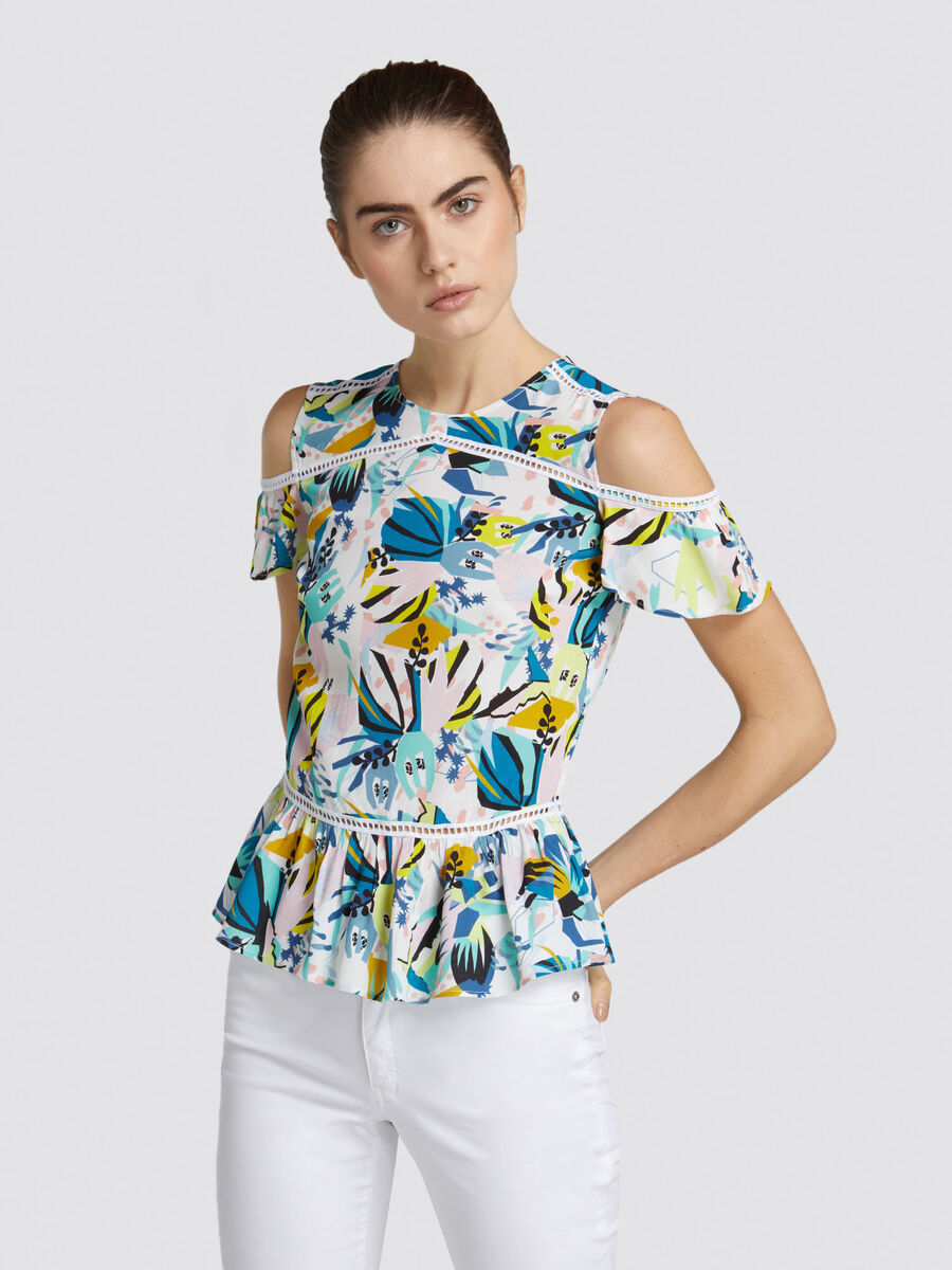 Slim fit viscose sable blouse with floral print