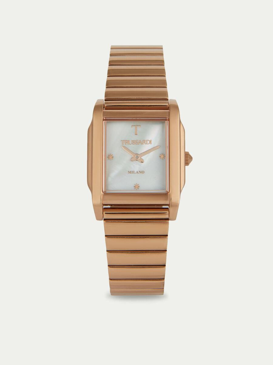 Armbanduhr T-Geometric mit Metallarmband in Rosegold