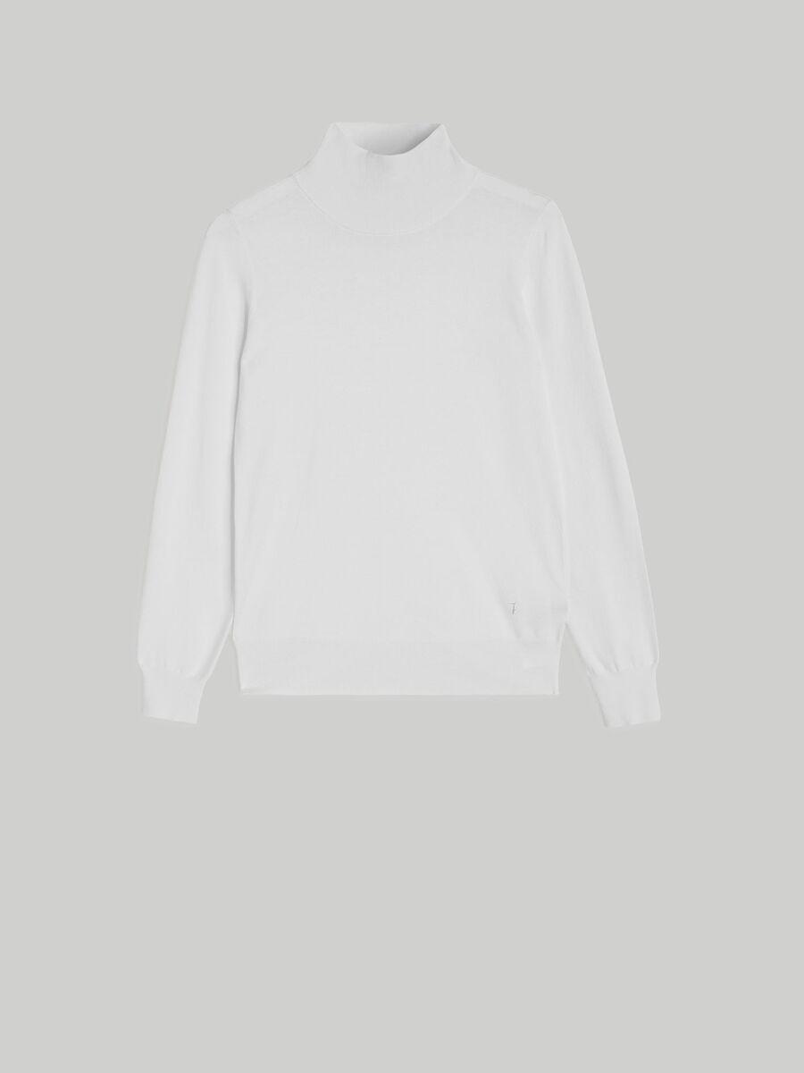 Regular-fit viscose polo-neck pullover