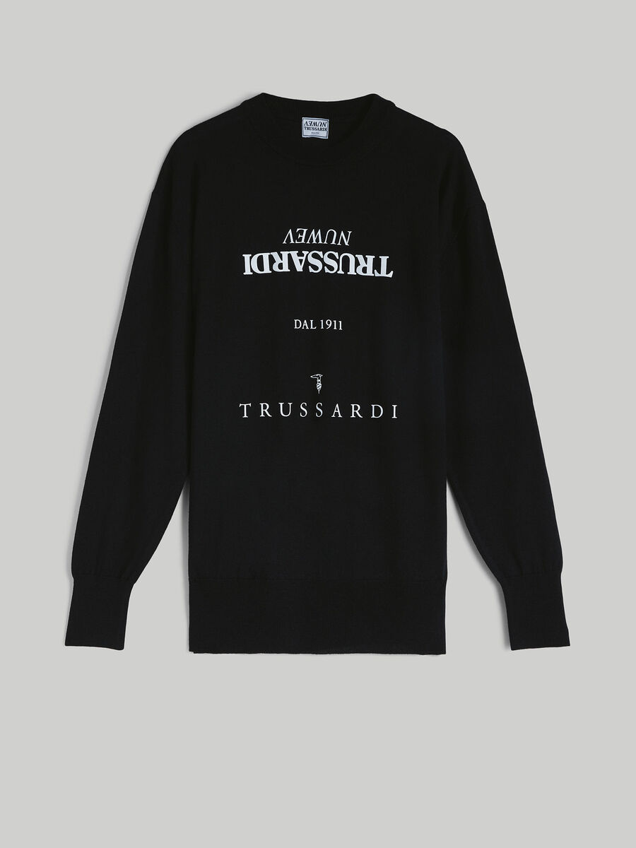 Oversized cotton sweatshirt with lettering