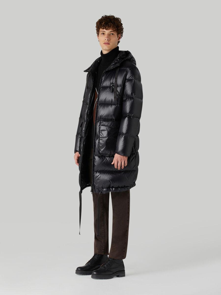 Light nylon midi down jacket with hood