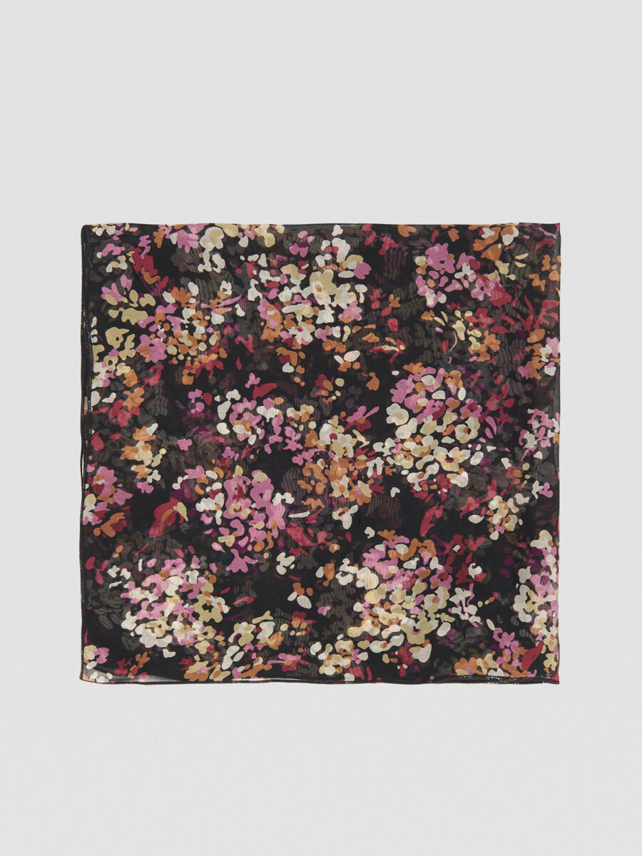 Floral-print scarf in silk and viscose