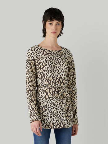 Belted animal-print fabric blouse