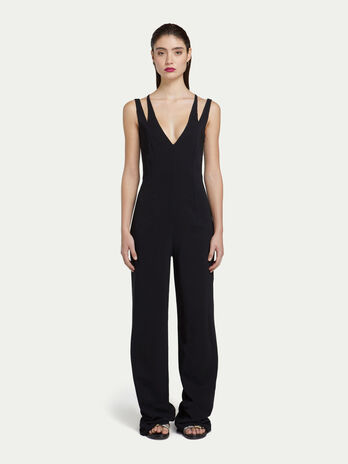 861d445ab9 Viscose crepe jumpsuit with faux double layer