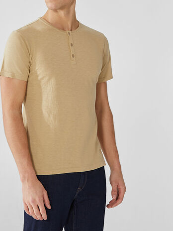 Cotton jersey T-shirt with buttons