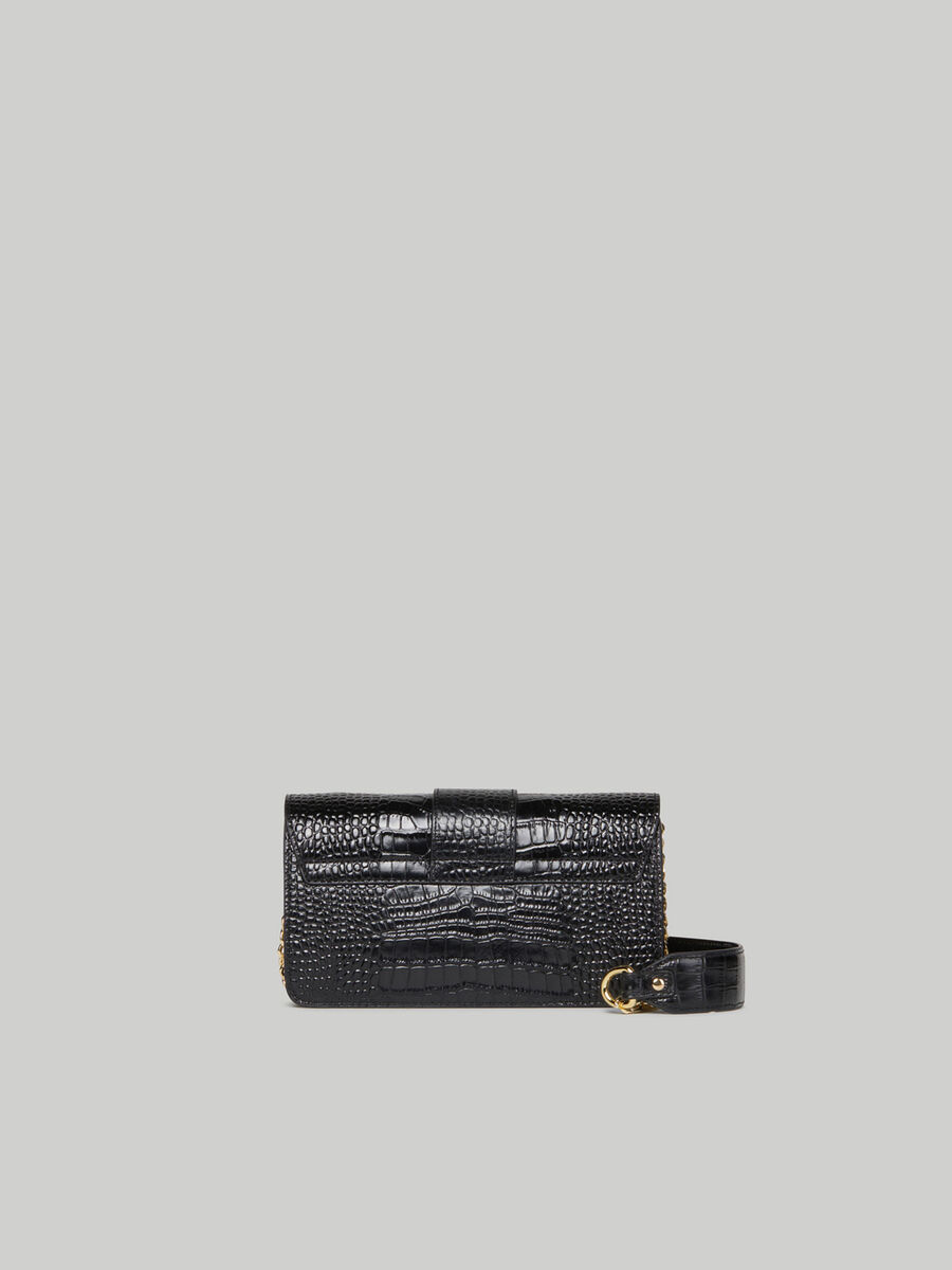 Crocodile-print leather Milano baguette bag