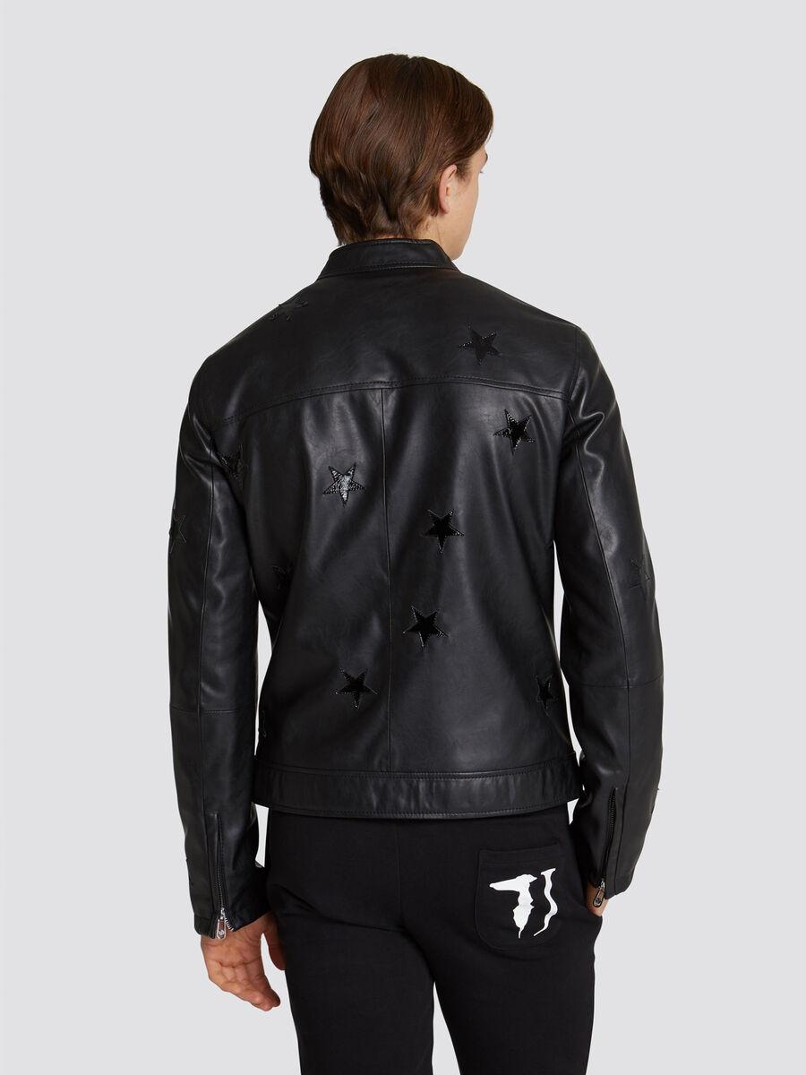 Regular fit faux leather biker jacket with star details