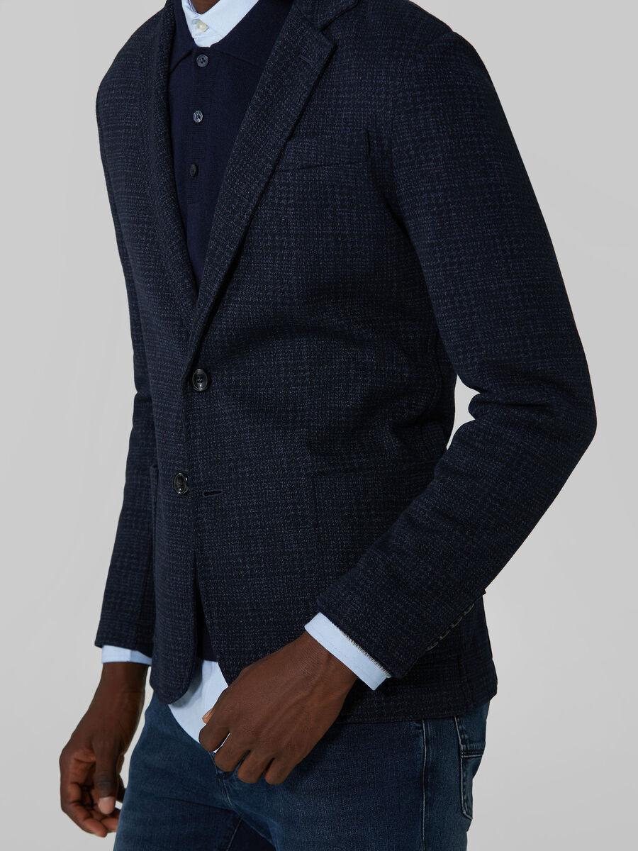 Slim fit chequered jersey blazer