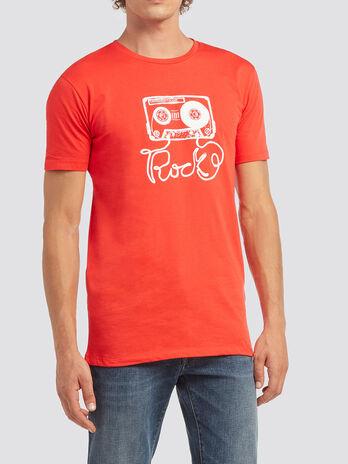 T Shirt mit Musikkassetten Print