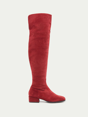 Over the knee suede boots with low heel