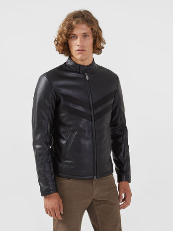 Regular fit biker jacket in soft faux leather