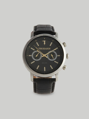 43 MM T-Couple watch with leather strap