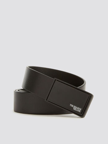 Business Affair leather belt with branded buckle