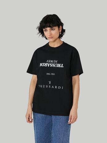 T-Shirt im Over-Fit aus Baumwolle mit Schriftzug-Print