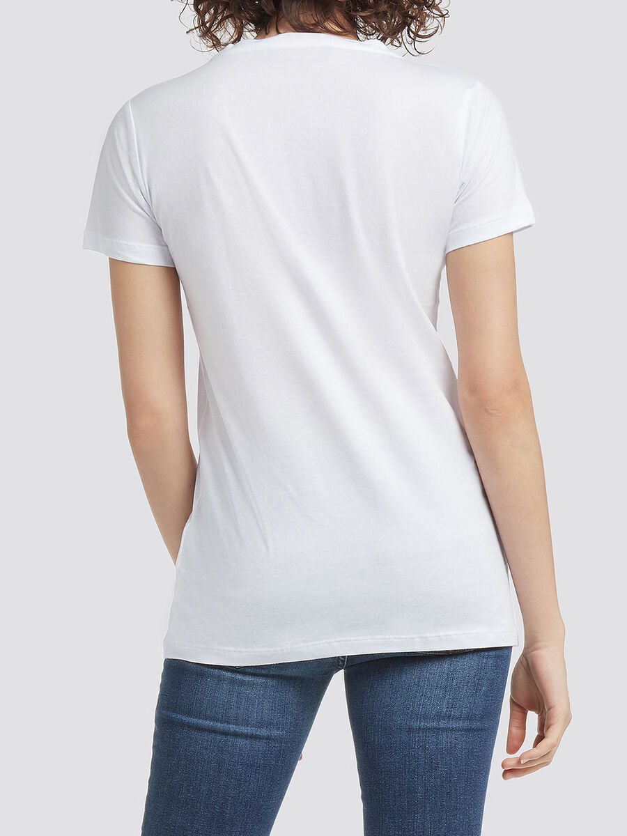 Pure cotton T shirt with contrasting lettering print